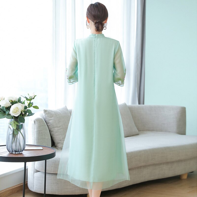 Embroidery Chinese Style Dress Vintage Half sleeve Large size 4XL Long dress Summer new fashion Voile Ankle-Length dress womens 2