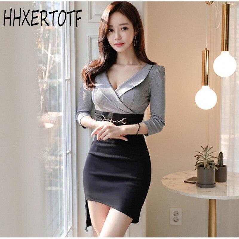 19 Korean version of the new OL temperament V-neck Slim thin bag hip irregular half sleeve women's dress 1