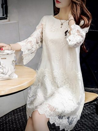 Summer Women Elegant Lace Dresses Casual Half Butterfly Sleeve O-neck Loos Fashionable Big Size A-Line Dress Female Vestidos