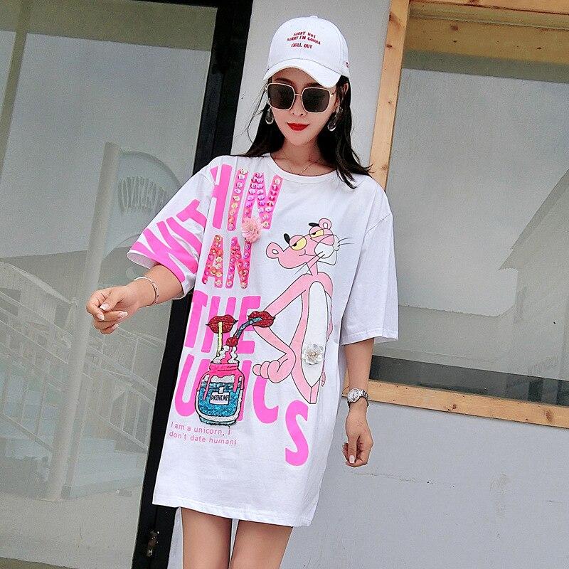 Vefadisa Pink Letter Dress Women Cartoon Printing Dress Half Sleeve Mini Dress Summer Sequin Lips T Shirt Loose Long Tops ZLD840 2