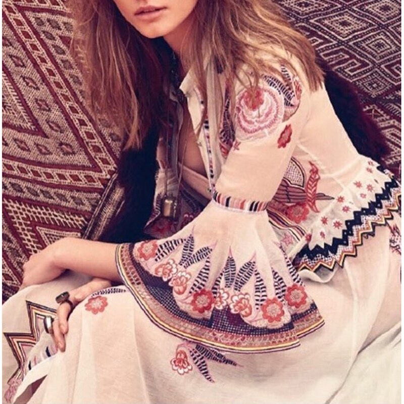 HIGH QUALITY New Fashion 19 Summer Runway Dress Women's Sweet Half Flare Sleeve Bow Collar Gauze Embroidery Flower Dress
