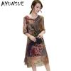 19 Half Sleeve Vestido Vintage Dress Plus size 4XL Medium Long Floral Silk Dress Women Clothing Thin Summer Dresses FYY342
