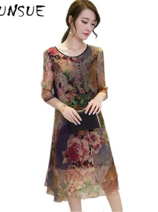 19 Half Sleeve Vestido Vintage Dress Plus size 4XL Medium Long Floral Silk Dress Women Clothing Thin Summer Dresses FYY342