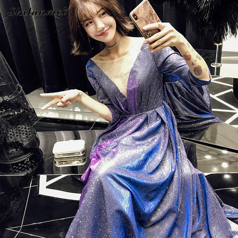 Maxi Dress 19 Spring Sexy V Neck Backless Half Sleeve Elegant Ladies Dresses Prom Wedding Evening Party Maxi Dress Vestido