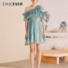 CHICEVER Blue Casual Solid Ruffles Women Dress Off Shoulder Half Sleeve High Waist Mini Pleated Dresses Female Fashion 19 New