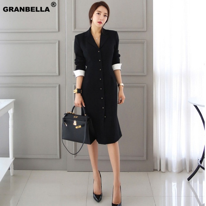 Autumn New Arrival Women OL style A-line knee-length Casual half sleeve slim vestidos office lady black professional dress 1