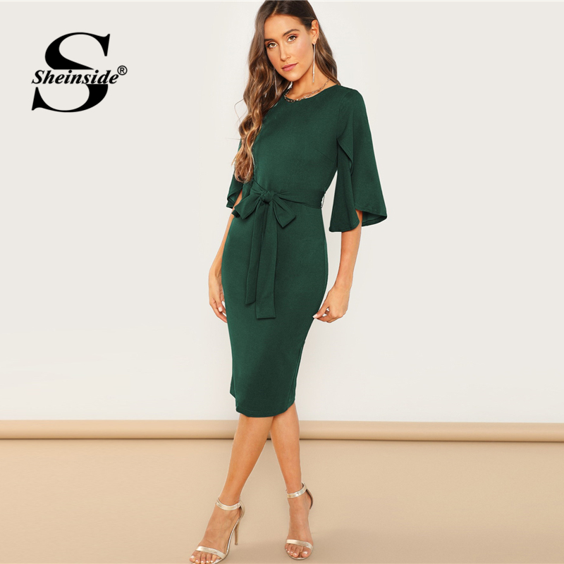 Sheinside Green Elegant Split Flutter Sleeve Pencil Dresses Women 19 Spring Knee Length Half Sleeve Dress Ladies Midi Dress