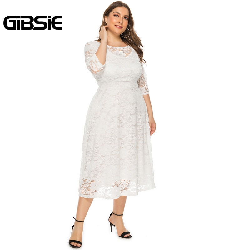 GIBSIE Plus Size Women Elegant O-Neck Half Sleeve Lace Dress Black White Evening Party Dresses Female Pocket A-line Long Dress 2