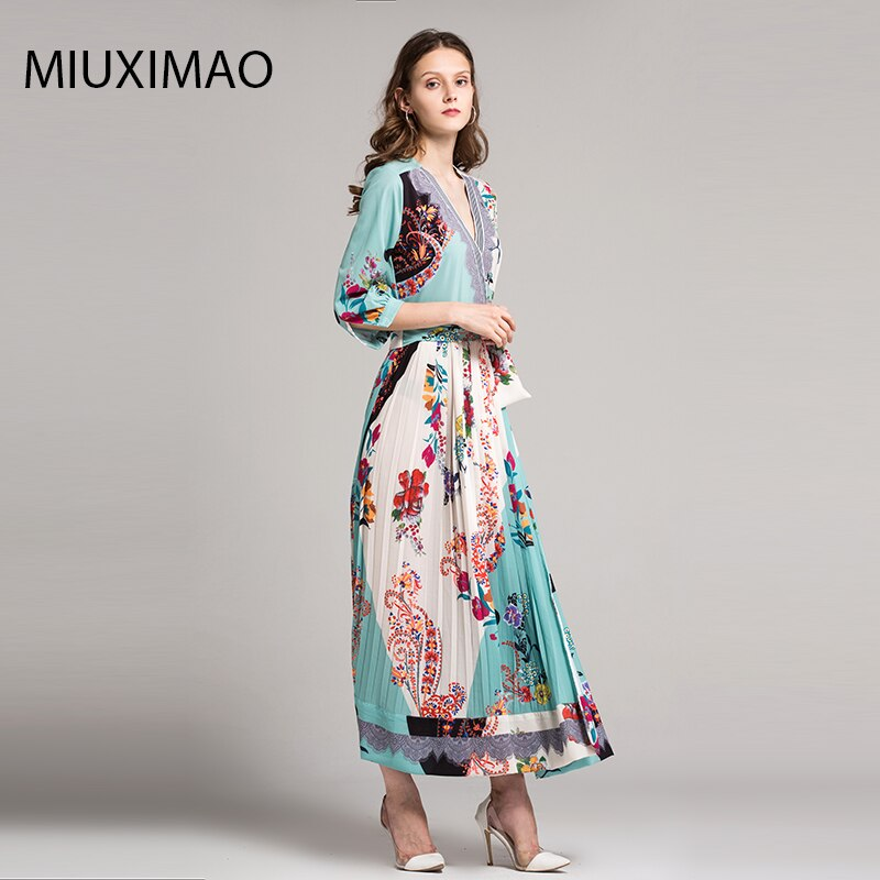18 High Quality Spring&Fall Dress Newest Cute Style V-Neck Half Sleeve Flower Print Elegant Dress Women 2