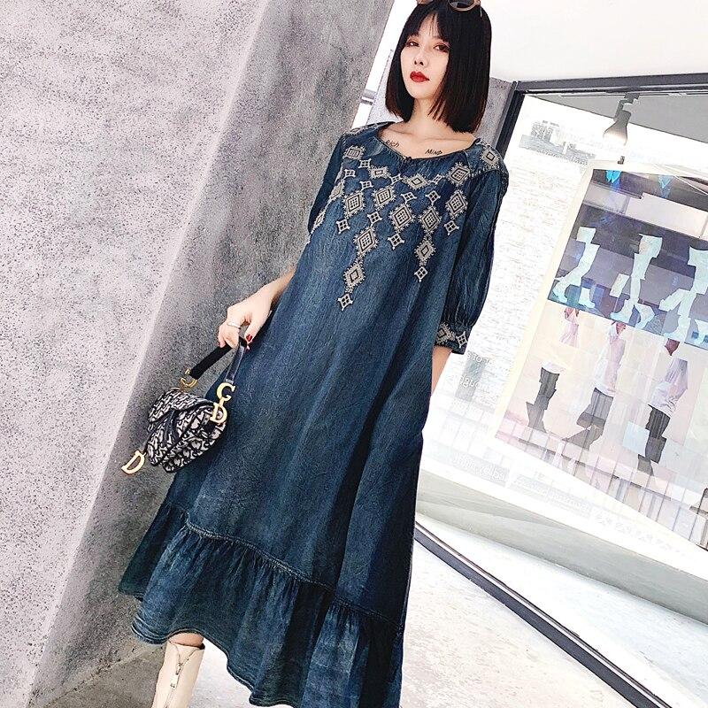 Women's Denim Dress 19 Vintage Big Loose Dress Female Ruffles Hem Woman Dresses O-Neck Half Sleeve A-line Embroidery dress 2