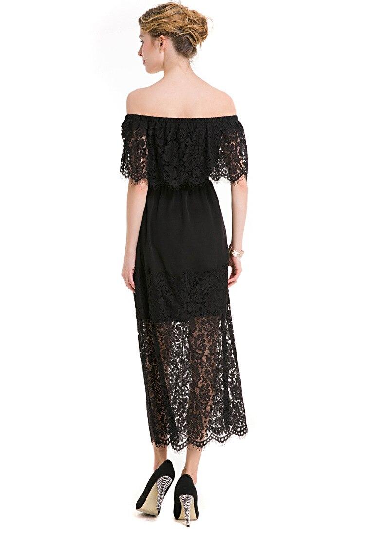 17 New Women Dress Slash Neck Lace Half Sleeve Dress Tall Waist Slim Ladies Hollow Out Womens Evening Long Dresses Elegant 2