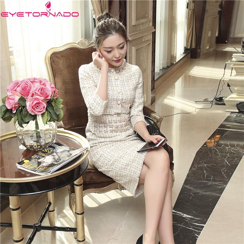 Women Beadings Split Sexy Bodycon Tweed Wool Dress O Neck Casual Work Office Half Sleeve Party Midi Dress Vestido 8404 3
