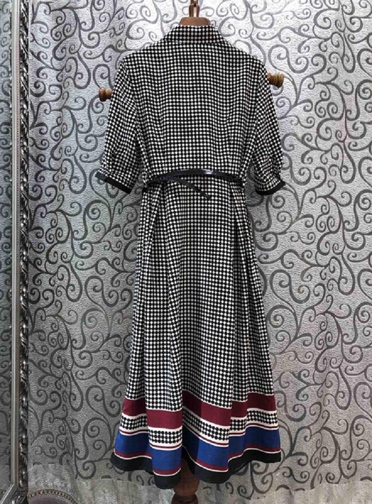Newest Fashion Spring Dress  Style Women Turn-down Collar Polka Dot Print Striped Color Block Half Sleeve Mid-Calf Dress 2