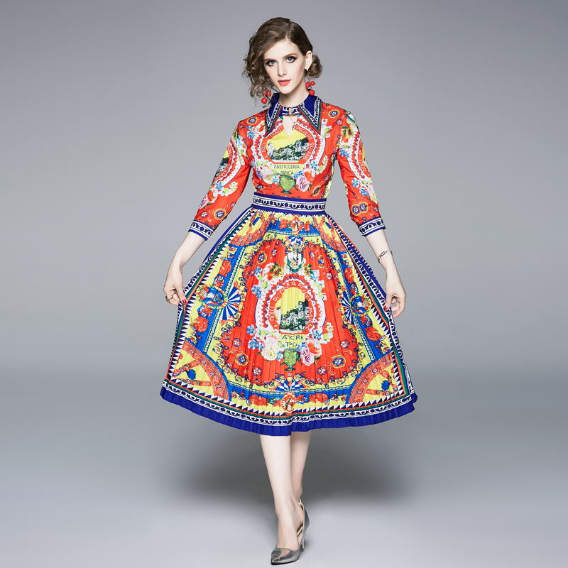 half regular sleeve pleated bohemian turn-down collar summer vintage elegant casual party dress 1