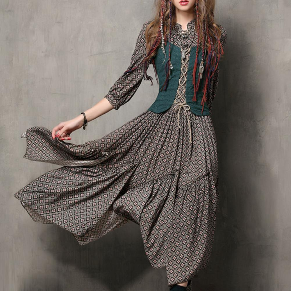 MISSKY Women Summer Dress Floral Printing Retro Button Embroidered Half Sleeve Slim Dress Female Clothes 1