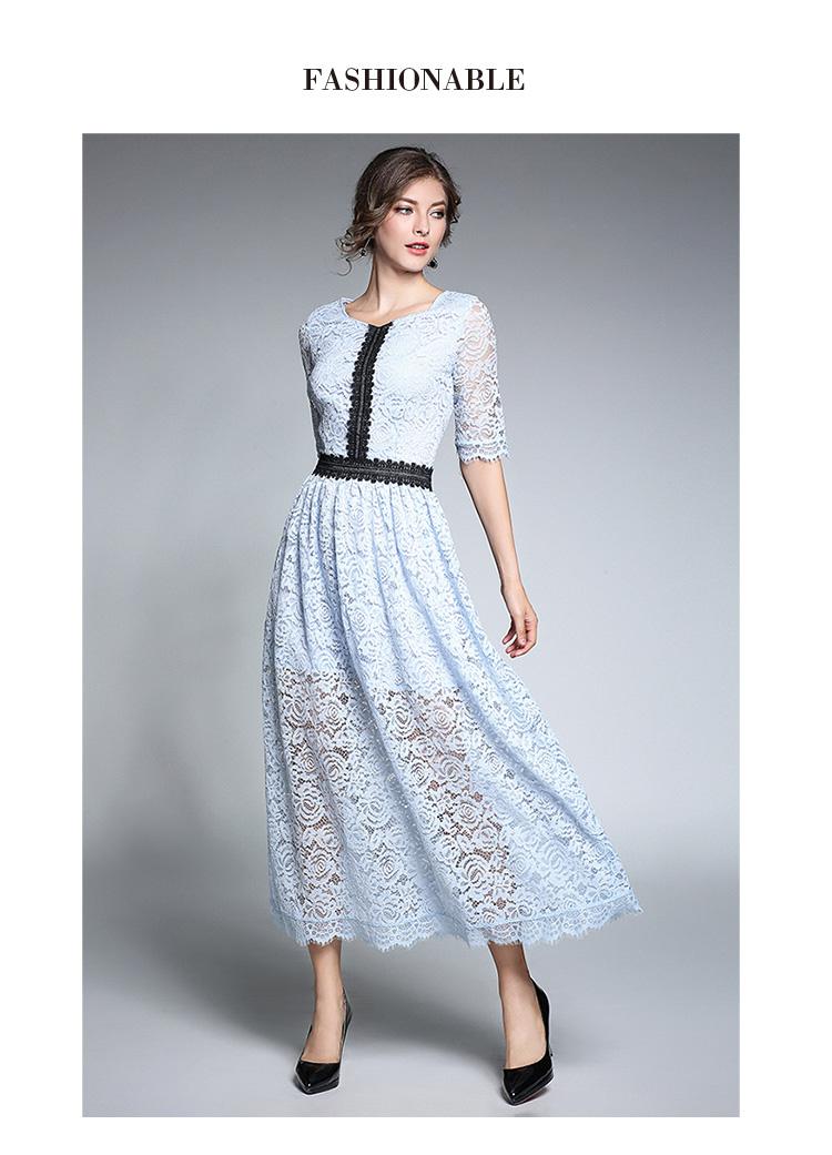 18Fashion Ladies elegant long lace dress female half sleeve summer pinched waist longos vestidos cultivating party dress tunic 3
