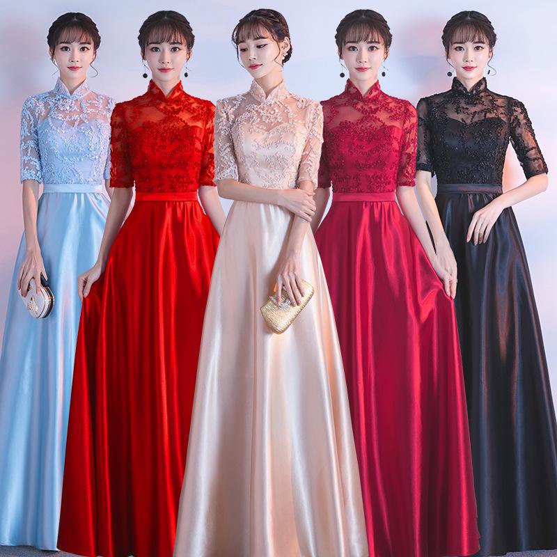 Fashion Lace Patchwork Dresses for Women Half Sleeve Long Prom Party Dresses Ladies Elegant Gowns A Line Dress Robe De Soiree 1