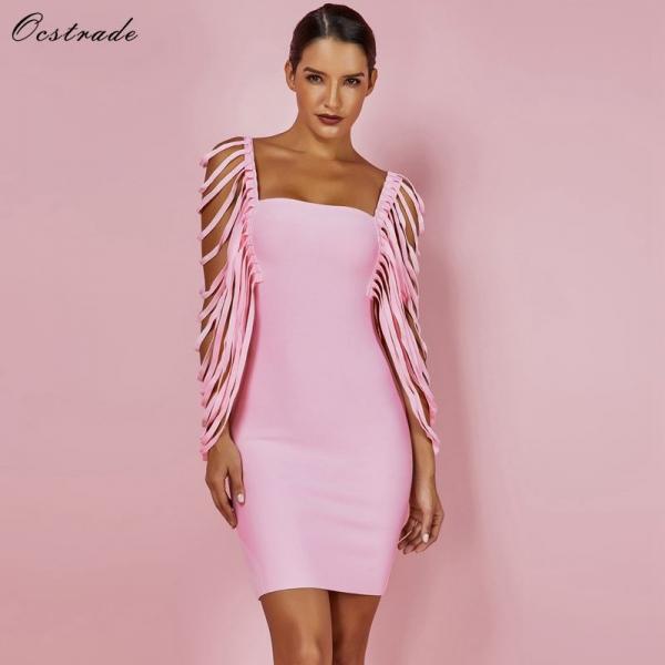 Sexy Women Dress Bandage Bodycon 19 New Summer Pink Fringe Detailed Cap Sleeve Woman Bandage Party Mini Dress XL
