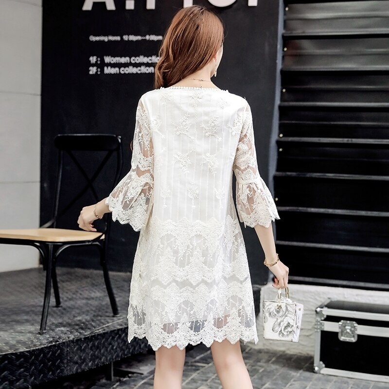Summer Women Elegant Lace Dresses Casual Half Butterfly Sleeve O-neck Loos Fashionable Big Size A-Line Dress Female Vestidos 3