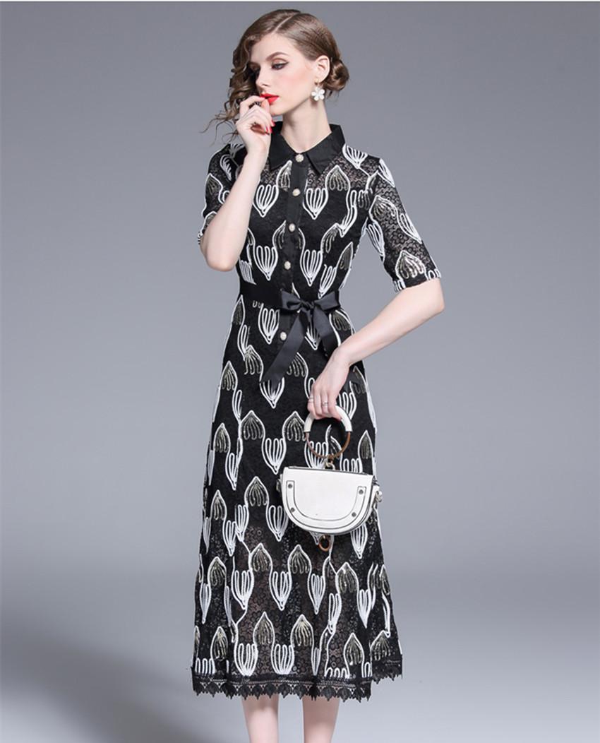 HAMALIEL Women Lace Midi Dress Luxury Summer Half Sleeve Patchwork Hollow Out Floral Dress Vintage Sequine Embroidery Long Dress 2