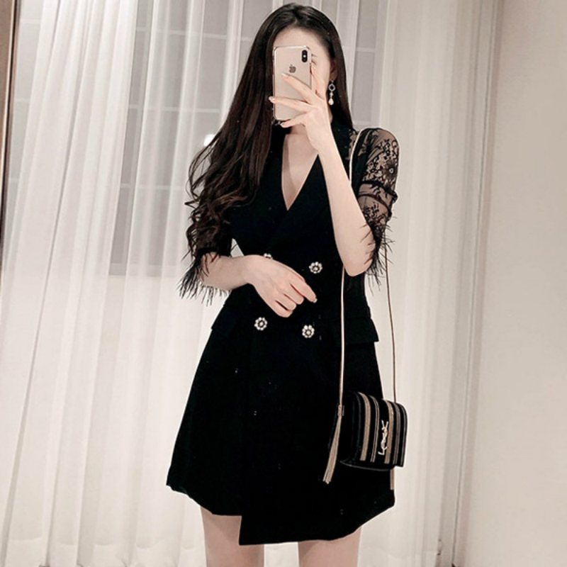 Plus Size Dresses Summer 19 Women Bodycon Ladies Dresses V-neck Half Sleeve Black Midi Dress Ropa Mujer Vestidos Verano 19 1