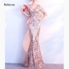 Gold Paisley Sequined Gem Beaded V Neck Half Sleeve Luxury Special Occasion Long Dresses For Women Elegant Sexy Club Party Dress