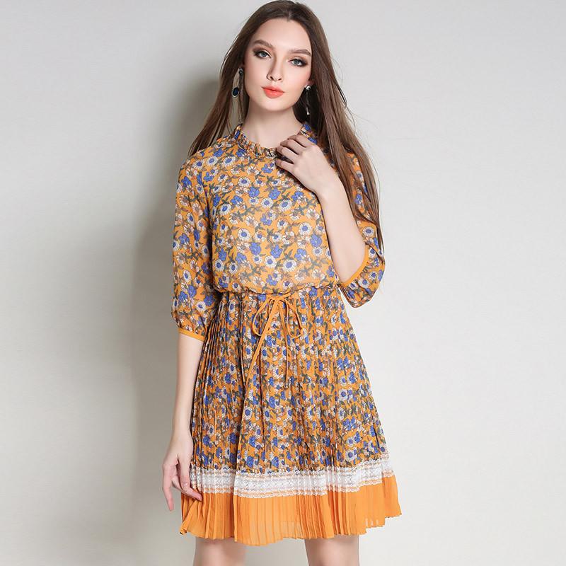 Half Sleeve Elegant Dress Women Chiffon Plus Size 5XL Blue Floral Dress Summer Dresses Casual Clothes Women Vestidos MujerFYY313 2