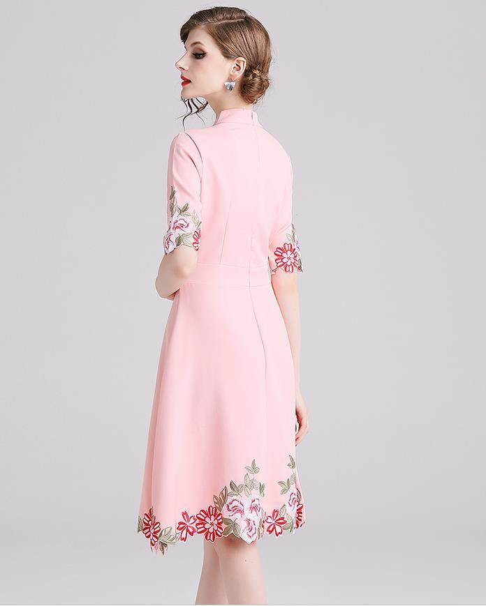 Comelsexy New Ladies Vintage Stand Collar Party Dress Spring Summer Midi Vestidos Women Pink Half Sleeve Embroidery Floral Dress 3