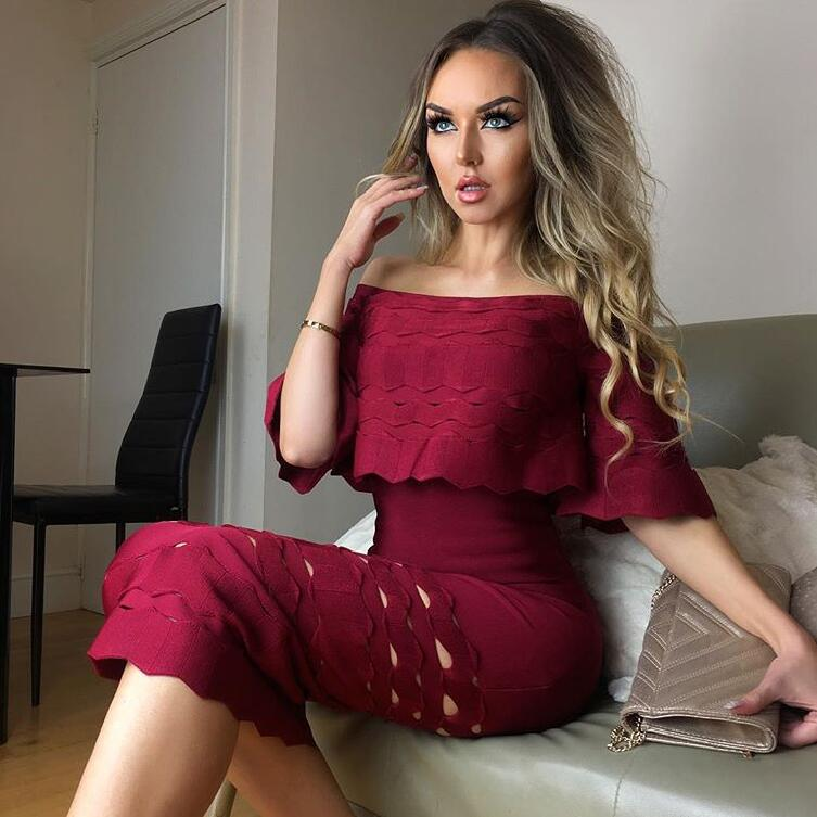 High Quality Wine Red Slash Neck Hollow Out Half Sleeve Bodycon Bandage Dress Evening Party Dress 1