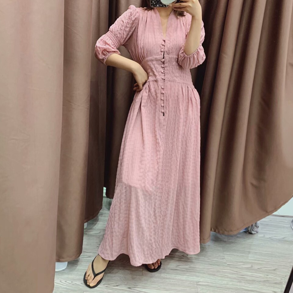 Women Summer Vintage Solid Dress Half Sleeve Buttons High Waist V-Neck Dresses Female Elegant A-Line Dress vestidos Clothing 3