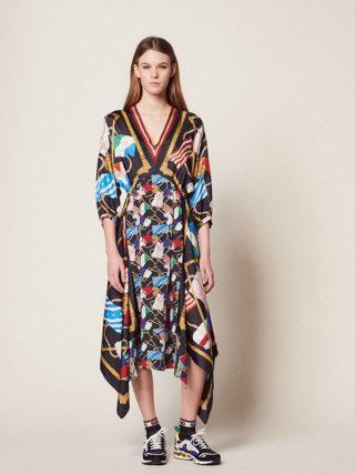 Summer Print Women's Holiday Dress Runway Irregular Sexy V Neck Half Sleeve Ladies Party Midi Dresses 19 Clothes
