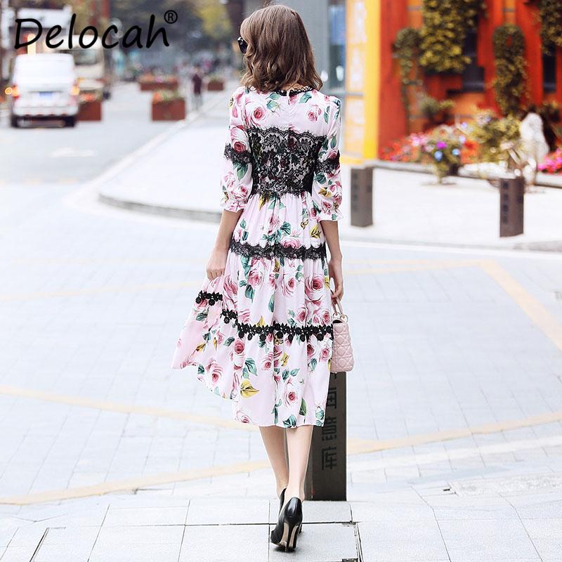 Delocah Women Spring Summer Dress Runway Fashion Designer Half Sleeve Gorgeous Lace Rose Printed Slim Knee-Length A-Line Dresses 2