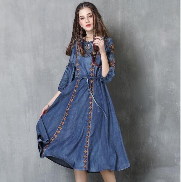 #2412 Autumn Embroidery Round Neck Denim Dresses Women Fashion Vintage Tie Waist Half Lantern Sleeve Washed Jeans Dress Tide 1