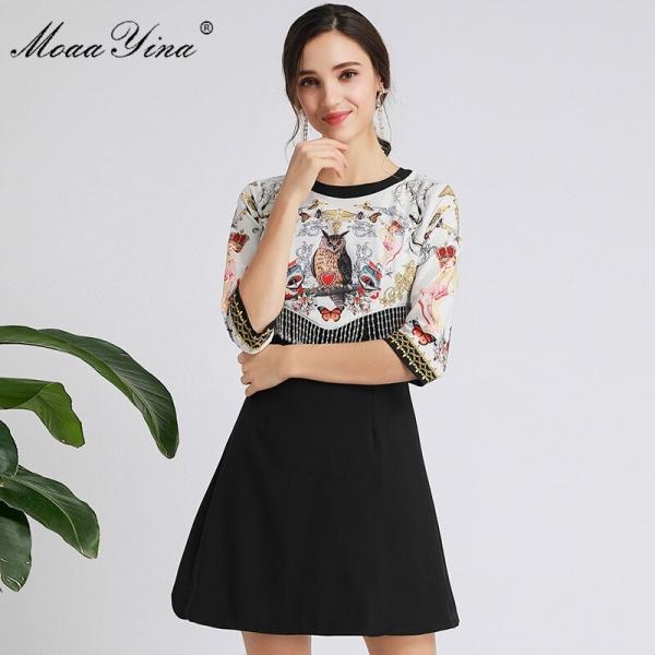 MoaaYina Fashion Designer dress Spring Autumn Women's Dress Half sleeve Crystal Tassel Print Dresses