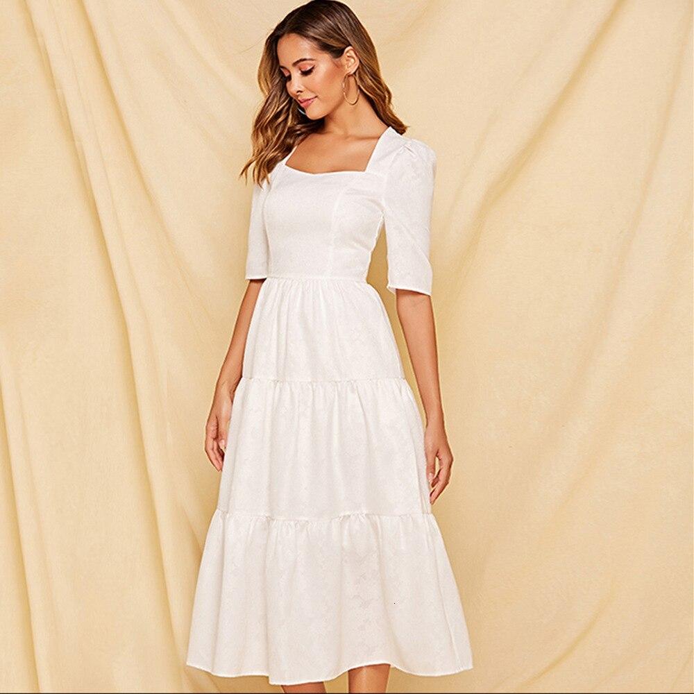 Summer A-line Elegant Temperament White Women Dress Square Collar Ladies Half Sleeve Maxi Dress Pure Color 19 Vestidos Largos 2