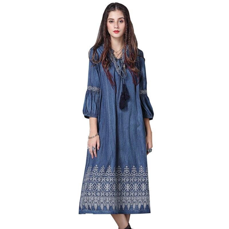 WSYORE Large Size Denim Dress Women 19 Spring Vintage Embroidered Half Sleeve Dress Casual Long Dresses Vestidos NS1148