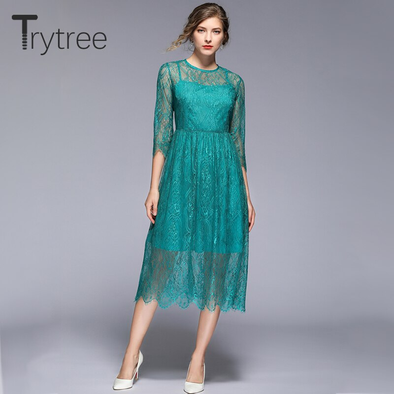 Trytree 19 Summer Autumn Casual Lace Dress Geometric embroidery women Half sleeve dresses Knee-Length A-line Office Lady Dress