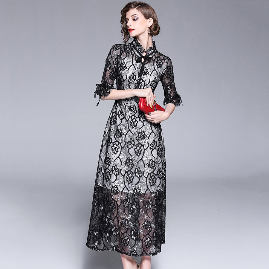 Autumn Fashion Womens Elegant Lace Dress 18 High Quality Half Sleeve Hollow Out Slim Casual Long Dresses Party Vestidos 3