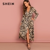 SHEIN Going Out Multicolor Surplice Wrap Satin Leopard Deep V Neck Half Sleeve Dress Elegant Women Autumn Modern Lady Dresses