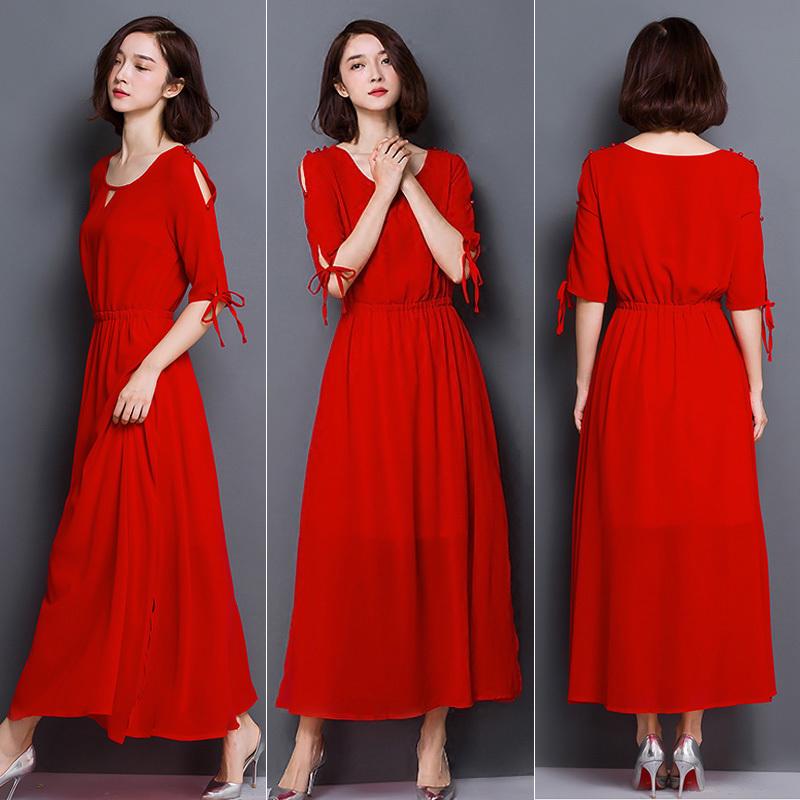 Summer Dress Women 18 New Bohemia Long Dress Solid Color Half Sleeve Plus Size 5XL Vestidos Female Chiffon Beach Dress AA178 2
