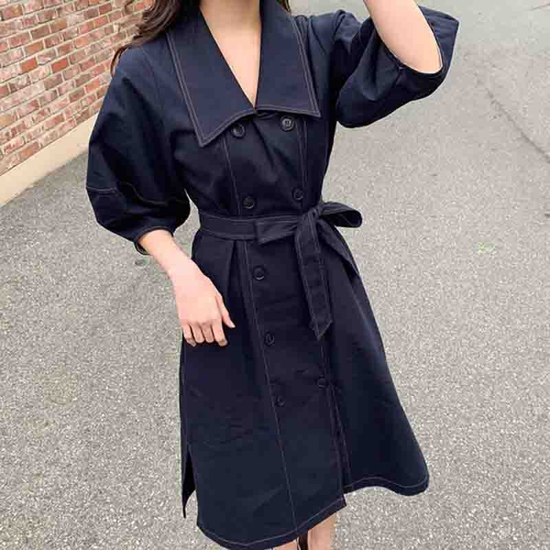 LLZACOOSH Double-breasted Autumn Loose Sashes Jeans Dress 19 Women Office Turn Down collar Blue Denim Half sleeve Cowboy Dress 2