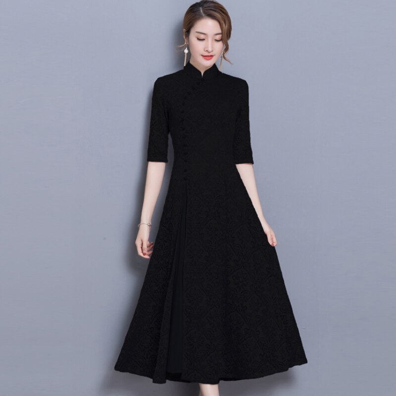 19 new vintage Lace Long dress women Summer Chinese Style A-Line dress Solid color Half sleeve Ankle-Length dress women 2