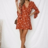 19 Summer Women Floral Print Boho Dress Casual Deep V Neck Ruffles Beach Dress Flare Half Sleeve Short Dress