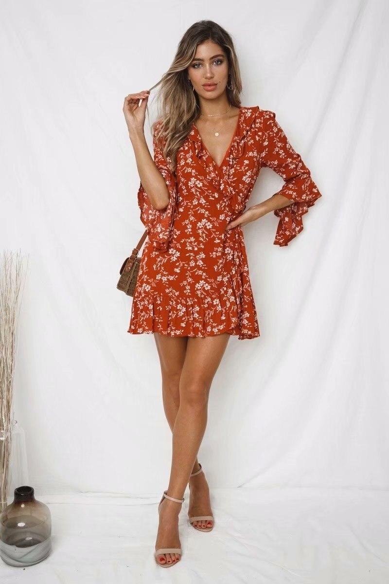 19 Summer Women Floral Print Boho Dress Casual Deep V Neck Ruffles Beach Dress Flare Half Sleeve Short Dress