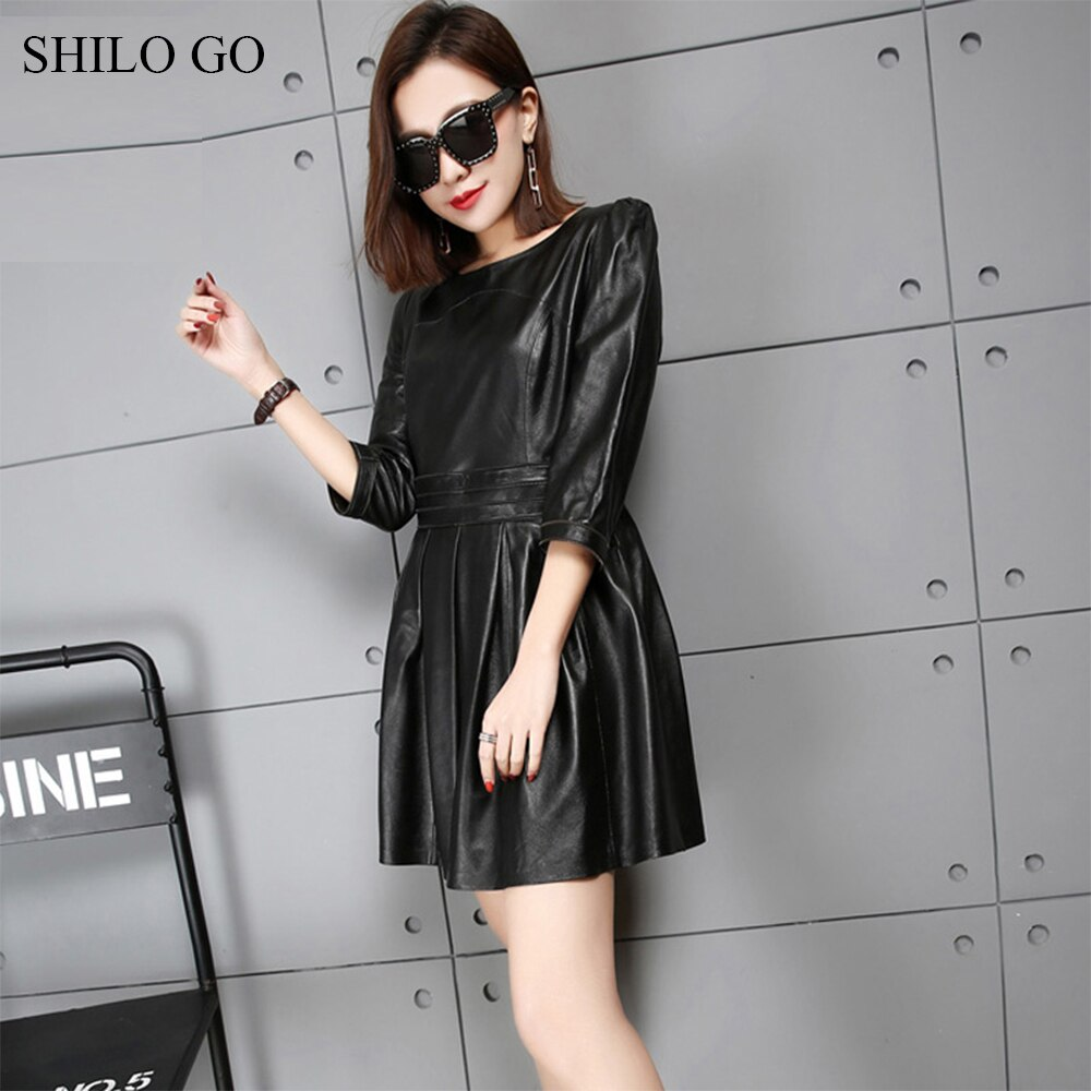 SHILO GO Leather Dress Womens Spring Fashion sheepskin genuine leather dress O Neck half sleeve office lady pleated dress 2