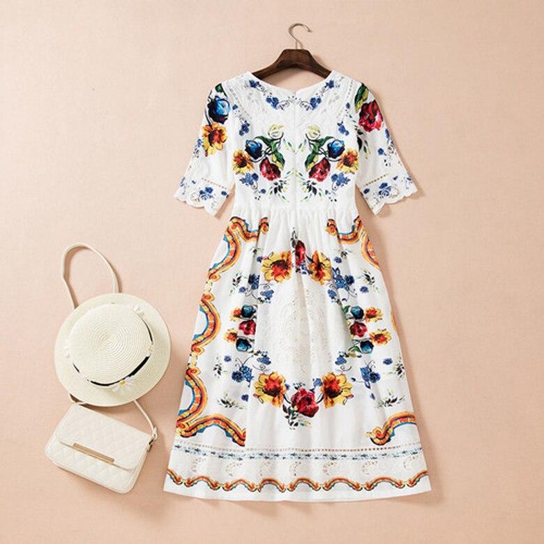 Women Summer Dress 18 High Quality Designer Runway O-neck Half Sleeve Embroidery Printed Elegant Party Dresses NPD0740 3