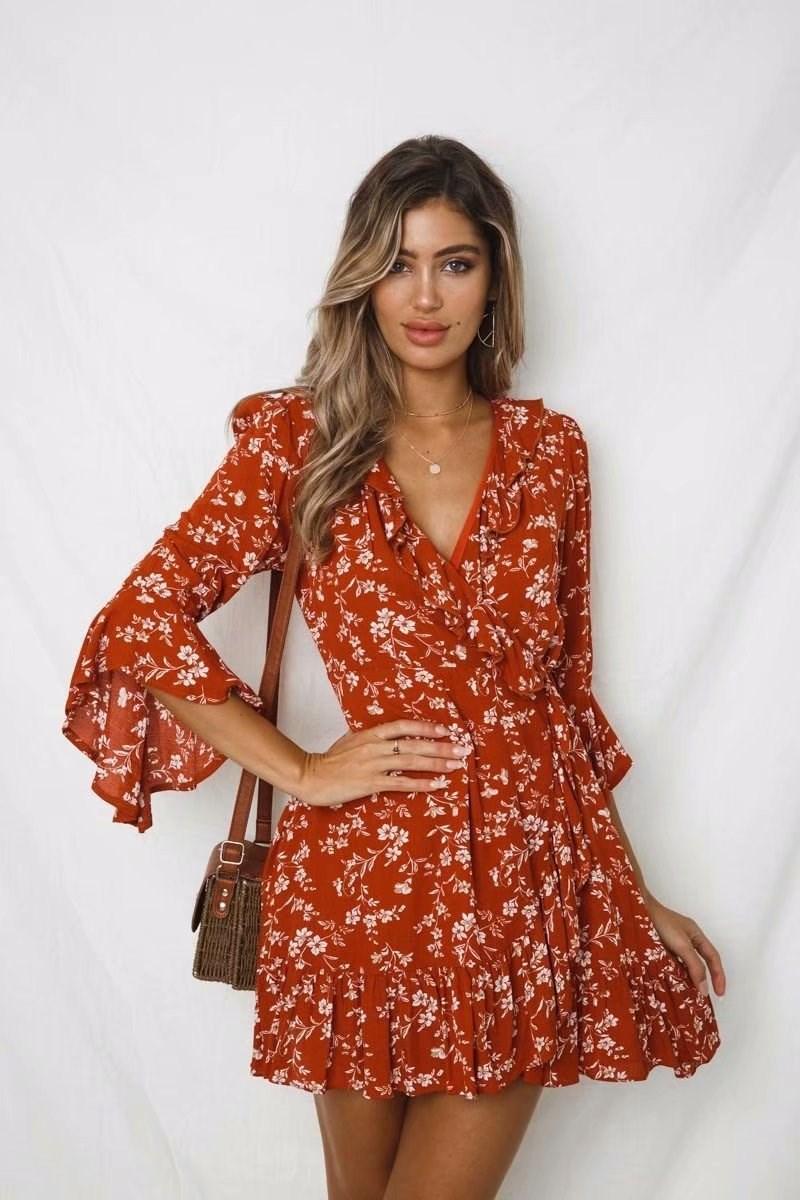 19 Summer Women Floral Print Boho Dress Casual Deep V Neck Ruffles Beach Dress Flare Half Sleeve Short Dress 2