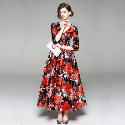New Spring Floral Print Long Runway Dress Women Bohemian Half Sleeve Boho Maxi Party Dresses Tunic Vestidos Robe Plus Size 3xl 2