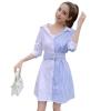 Stripe Patchwork Fashion Shirt Dress Women Summer Elbise New Dress Shirt V neck Half Sleeve Dresses Casual Korean Vestidos f359