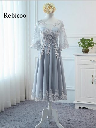 New Arrival Gery Luxury O-Neck Half Sleeve Embroidery Lace up Dresses A-line Tea Length Formal Dress
